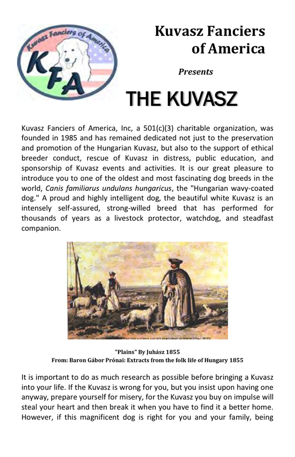 The Kuvasz brochure